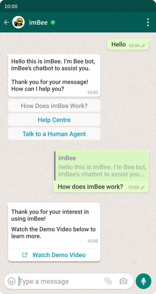 WhatsApp Business API Template Message Example