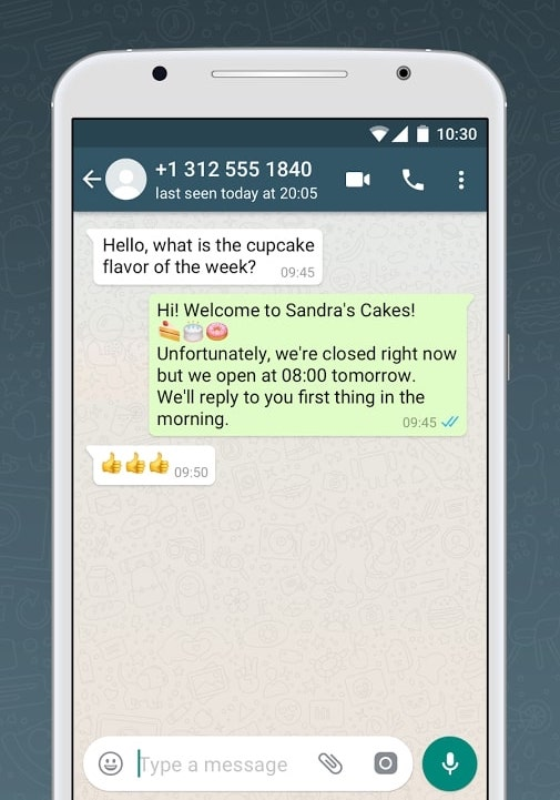WhatsApp Non-Business Hour Message